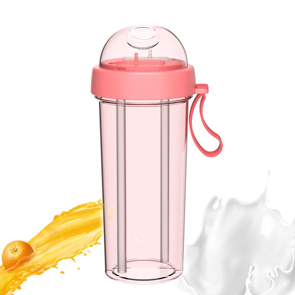 Sports Water Bottle- 2 Sides & 2 Straw Cup - Eco Friendly & BPA Free Tritan Plastic - Must Have for The Gym, Yoga, Running, Outdoors 600ML Pink