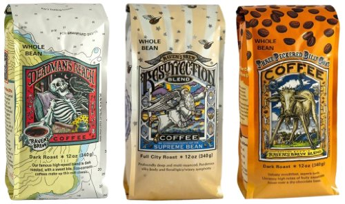 Raven's Brew Whole Bean Coffee Variety Pack, Number 1, 12 Ounce (Pack of 3) -
