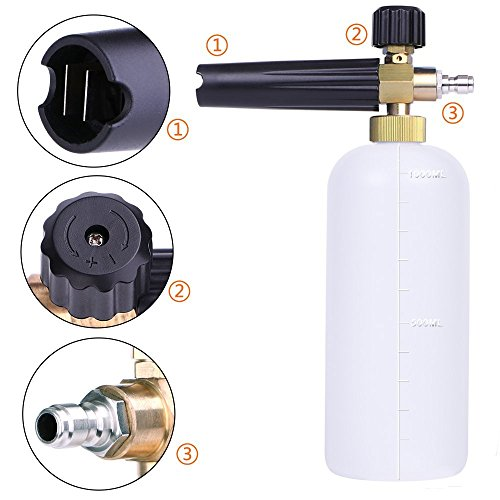 AYOGU Foam Cannon Adjustable Snow Foam Lance with 1/4 Quick Connector Foam Blaster for Pressure Washer Gun 1 Liter Bottle,5 Pressure Washer Nozzles for Cleaning (Foam Cannon with 5 Nozzles) by AYOGU (Image #2)