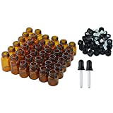 2 Ml Essential Oil Bottles 36pcs Essential Oil Bottles with 2pcs Transfer Pipettes, Lystaii 1ml 2ml 3ml Amber Glass Bottles Vials Oils Bottles for Essential Oils with Caps, Orifice Reducers and 2pcs Glass Dropper Pipettes