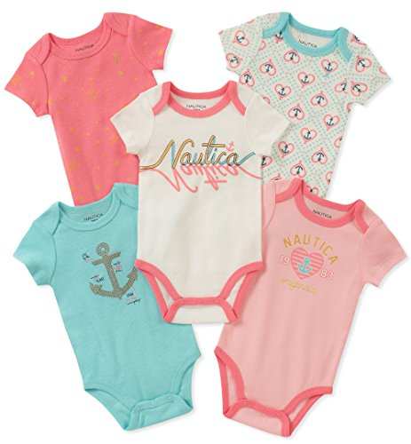 Nautica Kids-Baby 5 Pieces Pack Bodysuits, Mint/Pink/Vanilla, 0-3 Months (Nautica Newborn Boy Clothes)