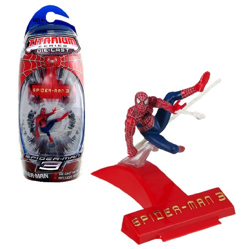 Hasbro Year 2007 Spider-Man 3 Titanium Die Cast Series 3 Inch Tall Action Mini Figure : SPIDER-MAN with Display Base