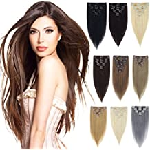 Women 7PCS/8PCS Soft Silky Straight 15-18 Clips Clip in Human Hair Extensions 100% Real Remy Full Head 9 Colors