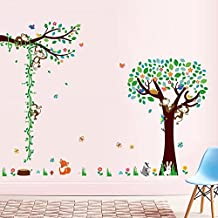 Woodland Arts 7.5ft x 6.3ft Cute Monkey Climbing Trees Growth Chart Height Measurements Animals Rabbits Zoo Baby Vinyl Wall Decals Wall Stickers Kids Removable Decals for Kids Rooms Nursery