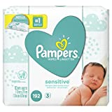 Pampers Baby Wipes Sensitive UNSCENTED 3X Refill Packs, 192 Count