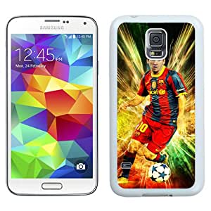 Lionel Messi White Abstract Design Custom Samsung Galaxy S5 I9600 Case