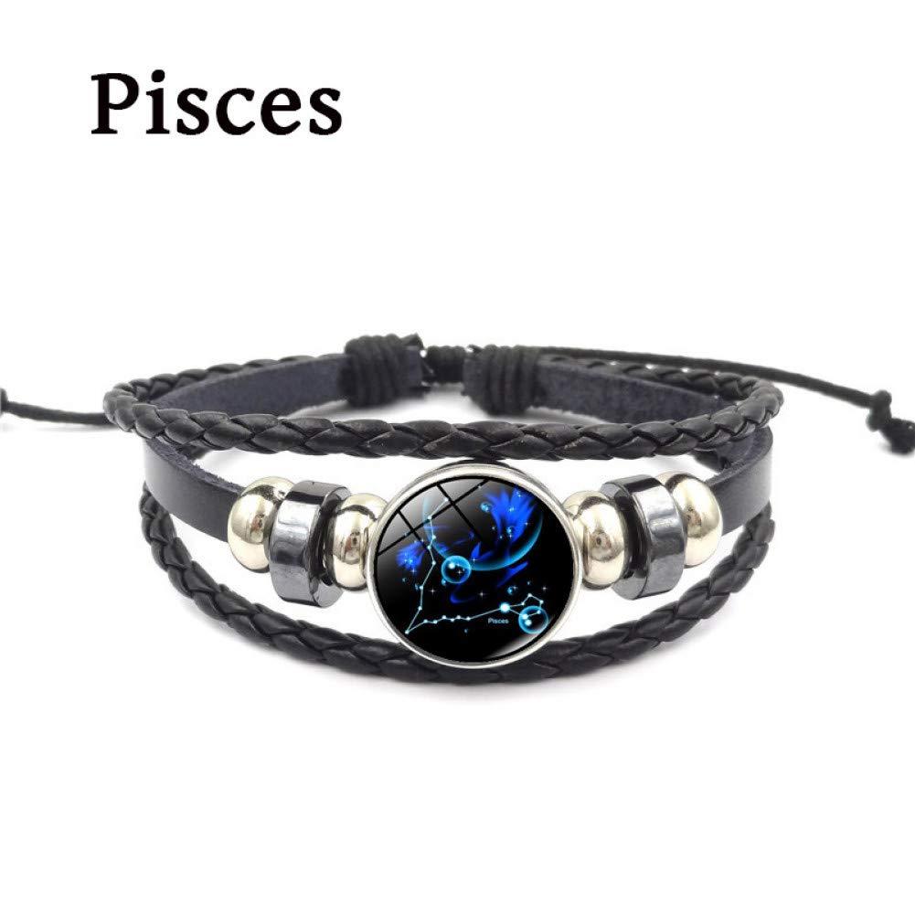 SHOUZ 12 Constellation Charm Bracelet Punk Style Zodiac Glass Buckle Jewelry Pulsera de Cuero de m/últiples Capas Hombres Wen Regalo de cumplea/ños