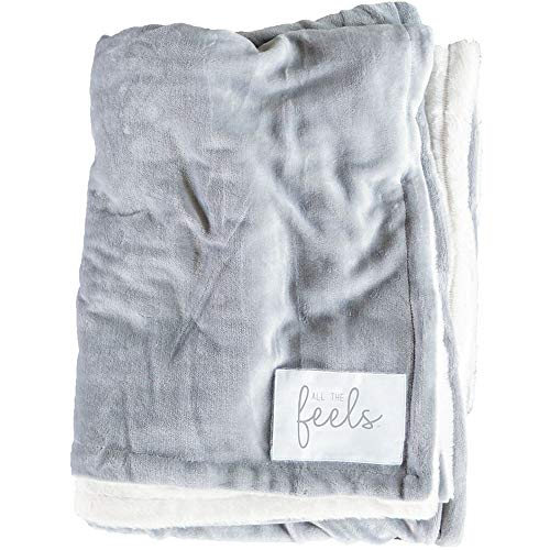 (All the Feels | Extra Cozy Reversible Blanket | Super Soft | Machine Washable | Full/Queen | Color- Ash Grey | You Buy One-We Give One)