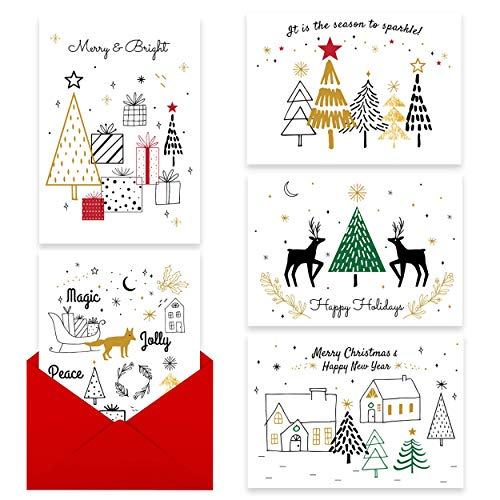 Holiday Cards Bulk with Gold Foil - 25 Christmas Cards with Gummed Red Envelopes - GOLD MARKER INCLUDED - Large Size and Blank inside for your own message - 5 Unique Designs ()