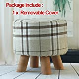 "1.Packing Including:One Ottoman x 1One Detachable Cover 2.Style:Contemporary 3.Material:beech wood and Fabric 4.Measurements:Diameter:12""Height:12"" 5.Fit in any home decor and Padded with high density foam for supreme comfortable 6.Perfect as..."
