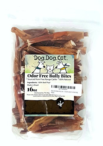 Bully Stick Bites Very Low Odor digestible durable chews in a bulk value 1 LB package. All pieces are clean and just under 6 inches long.