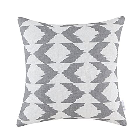 Euphoria CaliTime Cushion Cover Throw Pillow Shell Ikat Malposed Zigzag Stripes Geometric Figures 18 X 18 Inches Gray