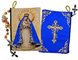 Catholic Our Lady of Charity - Our Lady of El Cobre Tapestry Cloth Rosary Pouch Case 5 3/8 Inch