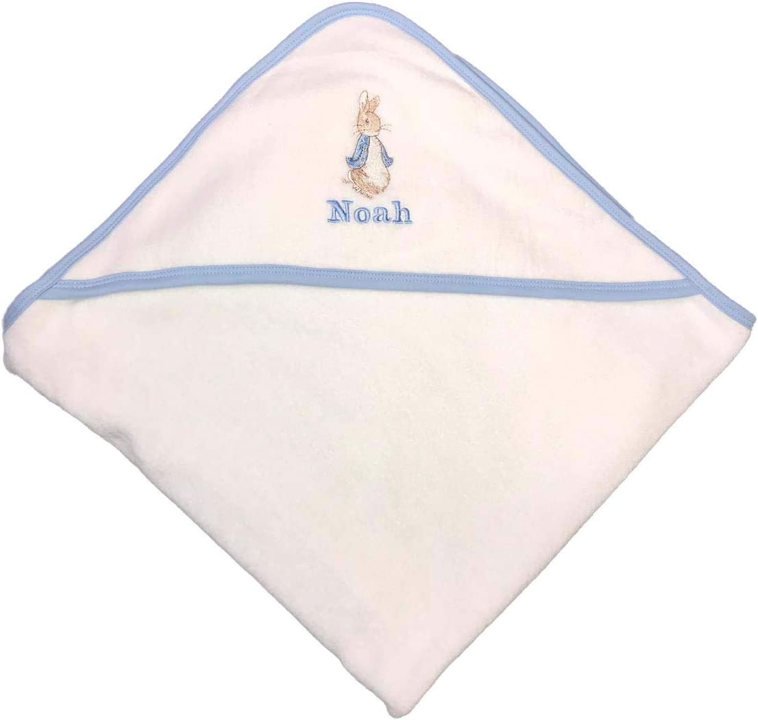 White//Blue Edge Personalised Hooded Baby Towel Peter Rabbit Luxury Baby Bath Towel Gift for boy or Girl Baby Shower