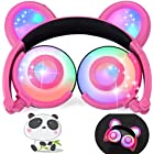 iGeeKid Kids Headphones Bear Ear LED Backlight USB Rechargeable Wired On/Over Ear Gaming Headsets 85dB Volume Limited 3.5mm Jack Headset for Girls Boys Kids Tablet Phone Android PC Travel School Pink