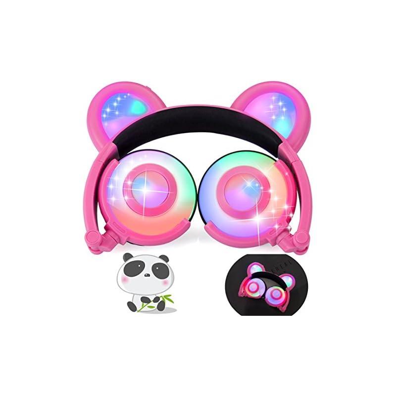 iGeeKid Kids Headphones Bear Ear LED Bac