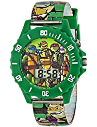 Ninja Turtles Kids' Digital Watch with Green Bezel, Speaker Plays TMNT Theme Song, Green Strap - Kids Digital Watch with Teenage Mutant Ninja Turtles on the Dial, Safe for Children - Model: TMN4085