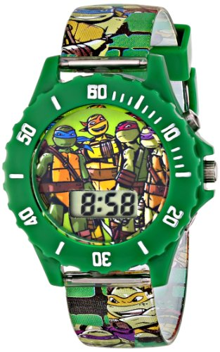 Ninja Turtles Kids' Digital Watch with Green Bezel, Speaker Plays TMNT Theme Song, Green Strap - Kids Digital Watch with Teenage Mutant Ninja Turtles on The Dial, Safe for Children - Model: TMN4085]()