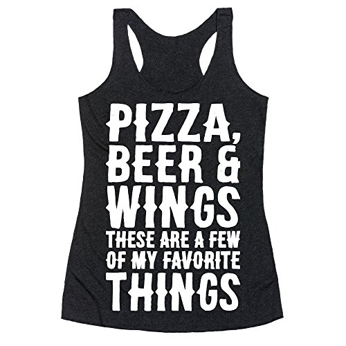 LookHUMAN Pizza Beer & Wings White Font Small Heathered Black Women's Racerback Tank