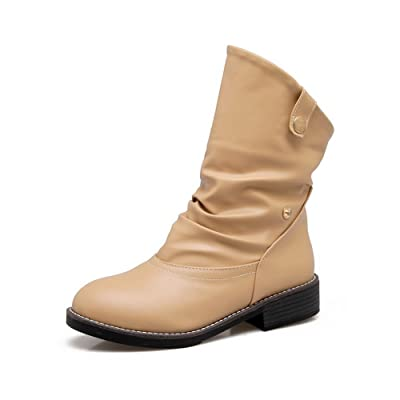 A&N Womens Boots Slouch Boots No-Closure Heeled Warm Lining Water_Resistant Mid-Top Road Manmade Light-Weight Bootie Urethane Boots DKU01723