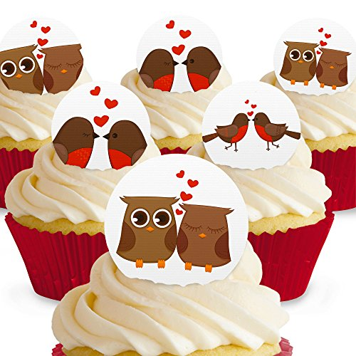 Cakeshop 12 x PRE-CUT Love Birds Assorted Edible Cake Toppers