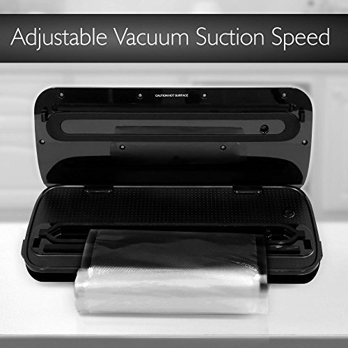 NutriChef Automatic Handheld Vacuum Sealer Machine - Simple & Compact Fresh Saver Meal - with Built-In Roll Storage & Cutter - Dry, Moist & Marinate Food Modes (Stainless Steel) by NutriChef (Image #3)