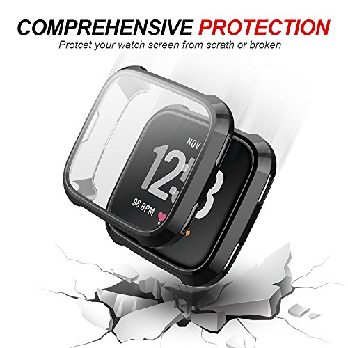 Fitbit Versa Screen Protector Case, UBOLE Scratch-resistant Flexible Lightweight Plated TPU FullBody Protective Case for Fitbit Versa Smart Watch (black)