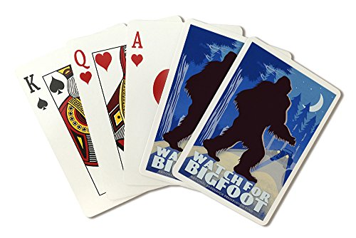 Watch for Bigfoot - WPA Style (Playing Card Deck - 52 Card Poker Size with Jokers)