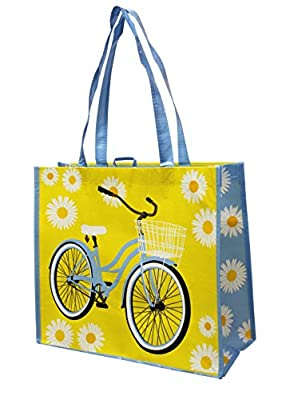 Earthwise Reusable Grocery Bag Shopping Tote w/ Bicycle Print (3 Pack)