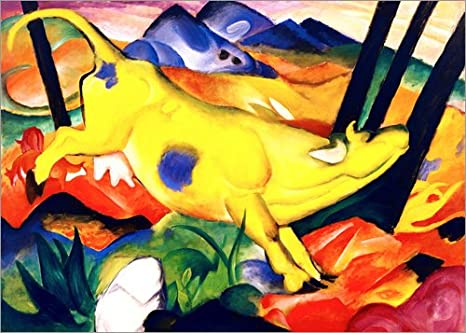 Posterlounge Acrylic print 40 x 30 cm: The yellow cow by Franz Marc