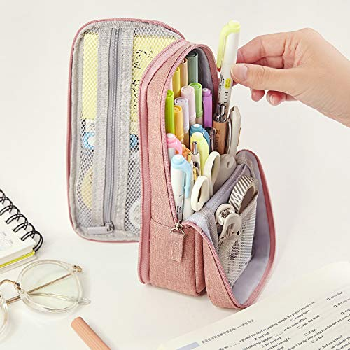 CICIMELON Standing Pencil Case Pencil Holder Multi-Layer Pencil Pouch Bag Gift for School Office Teen Girl Boy Women Adult Student -Pink