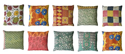 MyCrafts Indian kantha Throw Cushion Cover,Indian Home Decor Pillow Cases,Indian Decorative Cushion Cover,Indian Floral Print Cushion Cover,Designer Toss Cover, Bed Decor Sofa Cover 16