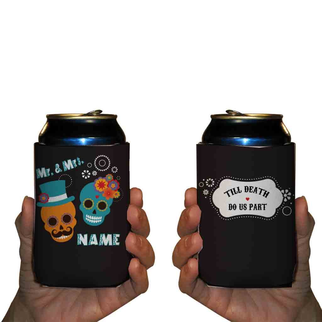 Custom Wedding Can Cooler- Till Death Do Us Part - Mexican Skull Wedding Theme Can Coolers (100) by VictoryStore