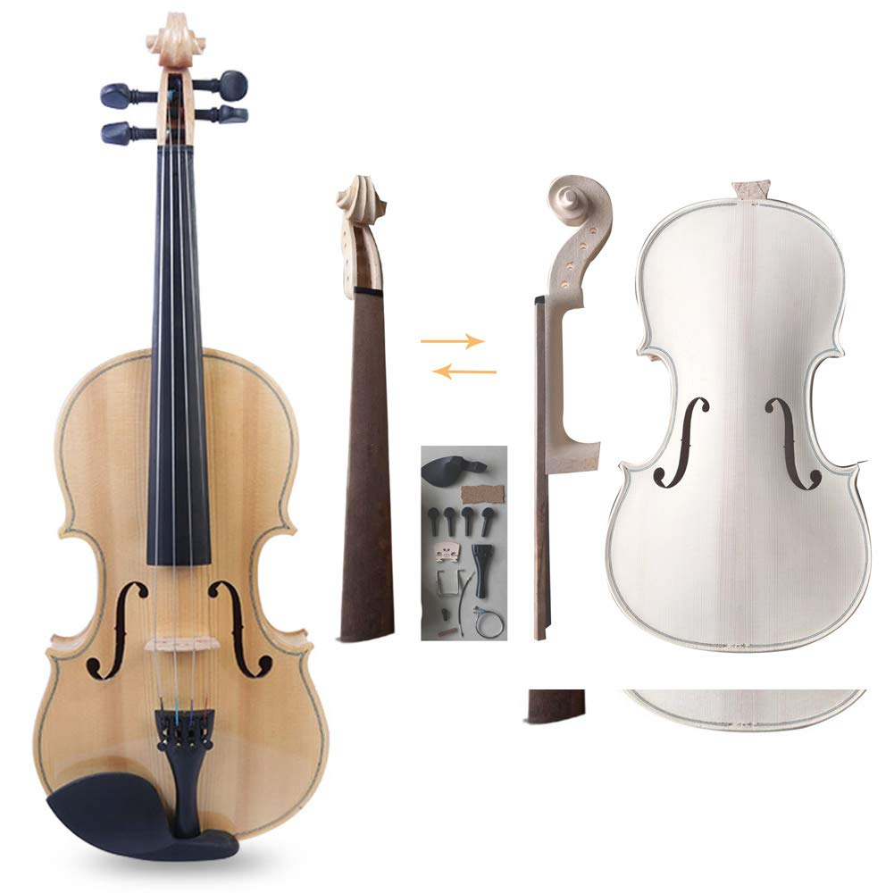 Zimo Make Your Own Violin Full Size 4/4 Natural Acoustic Violin DIY Kit by zimo