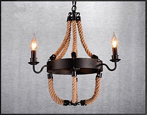 Project Designer (Industrial Pendant Light Simple six industrial hemp chandelier designer project personality light, 50 56cm)