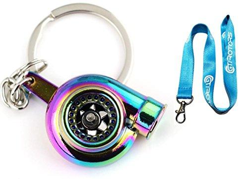 Neon Chrome Spinning Turbo Keychain (BONUS: Blue GT//Rotors Lanyard)