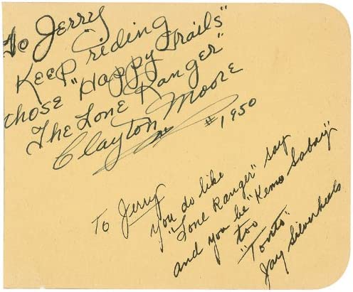 Lone Ranger Tv Cast Autograph Note Signed 1950 With Co Signers At Amazon S Entertainment Collectibles Store