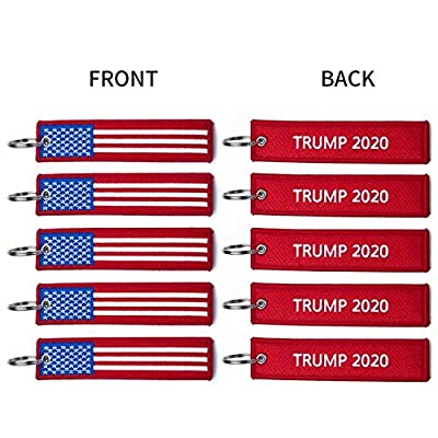 PATWAY 5Pcs American President Donald Trump 2020 Make Keep US America Great Embroidered Luggage Tag Keychain for Jeep Toyota Honda BMW Ford Chevrolet Nissan Motorcycles, Scooters, Cars and Gift: Automotive