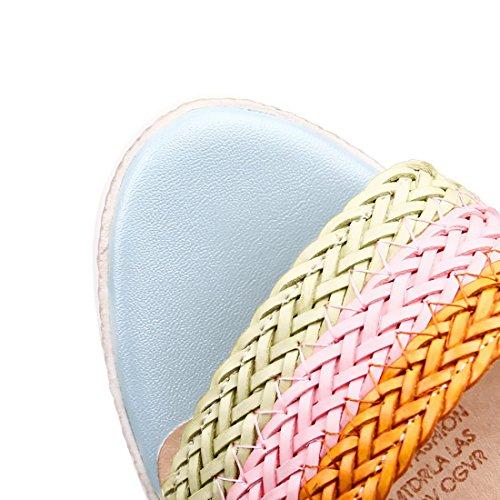 Bandage Compensé Talons Bride Moyen Cheville Femmes à Plateforme D'été Bleu et Tressé pour Sandales avec UH Confortables qXwOS0E