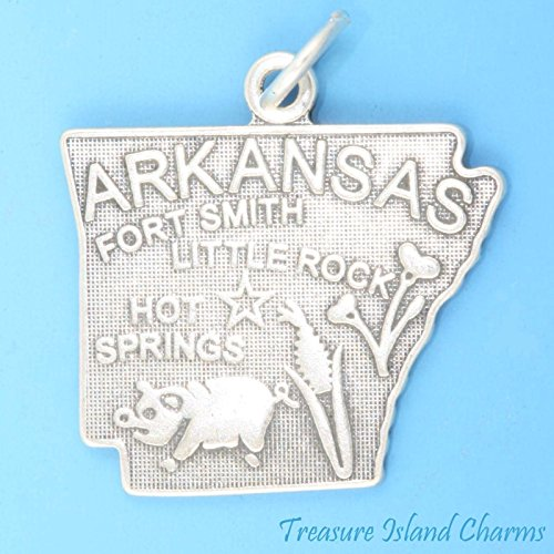 (Arkansas State MAP Little Rock HOT Springs Fort Smith .925 Sterling Silver Charm Ideal Gifts, Pendant, Charms, DIY Crafting, Gift Set from Heart by Wholesale Charms)