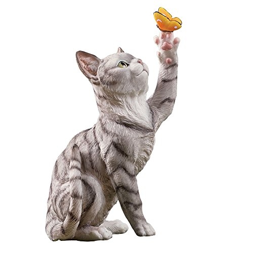 Kitten And Butterfly Garden Figurine, Grey