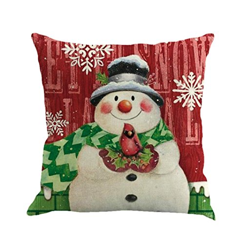 Pillow Case Cover, Hmlai Decorative Pillowcases Christmas Printing Dyeing Pillow Cases Flax Sofa Cushion Cover Home Decor,45cmx45cm