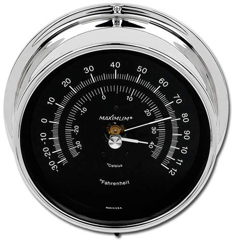 Maximum Weather Instruments Mini-Max Thermometer - Chrome case, Black dial