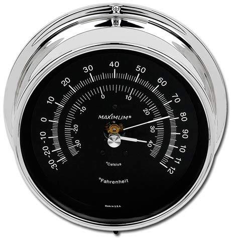 Maximum Weather Instruments Mini-Max Thermometer – Chrome case, Black dial