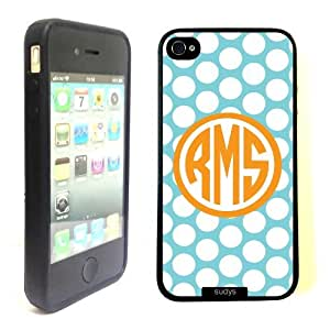 SudysAccessories Monogram Monogrammed Personalized Customized Polka Aqua iphone 4 Case iPhone 4S Case - Personalized for FREE (Send us an Amazon email after purchase with your monogram choice)