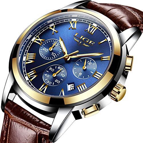 Mens Watches Leahter Analog Quartz Watch Men Date Business Dress Wristwatch Men's Waterproof Sport - Used Mens Watches