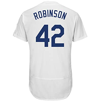 Burns Tommy Mens #42Robinson LA Cooperstown Home Jersey White Flex Base Jerseys