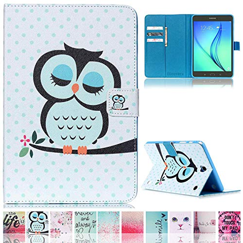 Galaxy Tab A 8.0 T350 Case,UUcovers Colorful Cartoon [Money/Card Slot] Smart Wallet Case [Auto Sleep/Wake Feature] for Samsung Galaxy Tab A 8.0 SM-T350 (Owl)