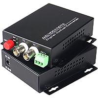Guantai 1080P HD CVI AHD TVI 2 Channel Video Fiber Optical Media Converters with RS485 Data,FC, Singlemode 20Km- For 1080p 960p 720p AHD CVI TVI HD CCTV