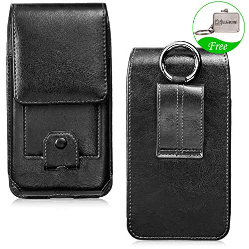 LUXMO Classic Vertical Phone Holster Genuine Leather Case Belt Clip Pouch Rugged Carrying Cover [Key Holder Case] with Card Slots Hanging Ring Compatible with iPhone 6 6s 7 8 Galaxy S7 Edge (Black)